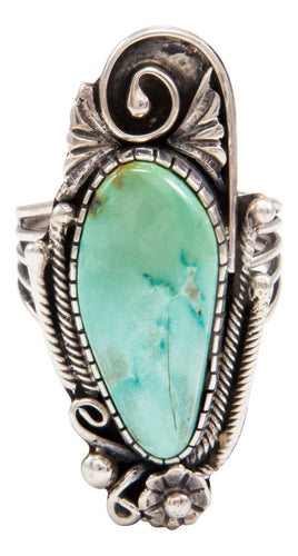 Navajo Native American Lone Mountain Turquoise Ring Size 8 by Lorenzo Juan SKU232036