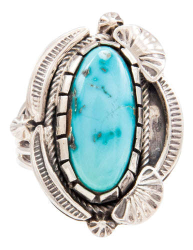 Navajo Native American Kingman Turquoise Ring Size 10 by Kevin Willie SKU232046