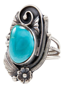 Navajo Native American Kingman Turquoise Ring Size 5 1/2 by Lorenzo Juan SKU232053