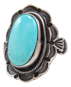 Navajo Native American Kingman Turquoise Ring Size 5 3/4 by Lorenzo Juan SKU232055