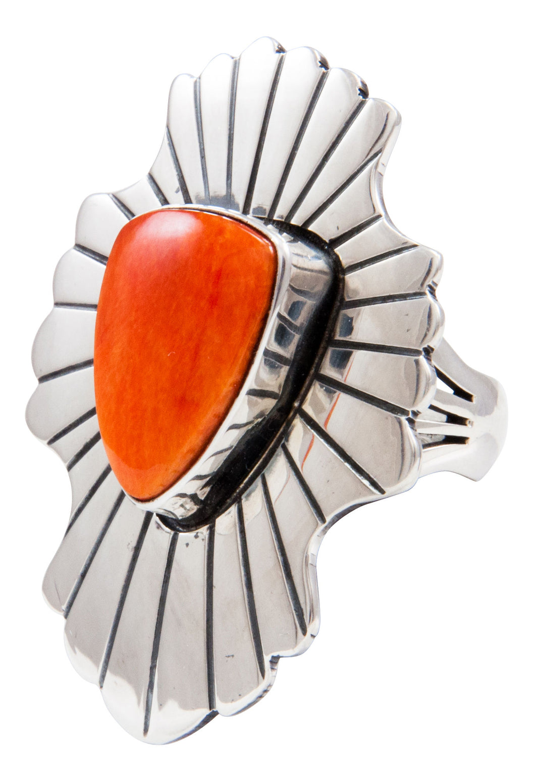 Navajo Native American Spiny Oyster Shell Ring Size 6 by Paul Livingston SKU232068