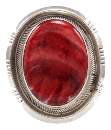 Navajo Native American Spiny Oyster Shell Ring Size 6 1/4 by Kevin Willie SKU232072