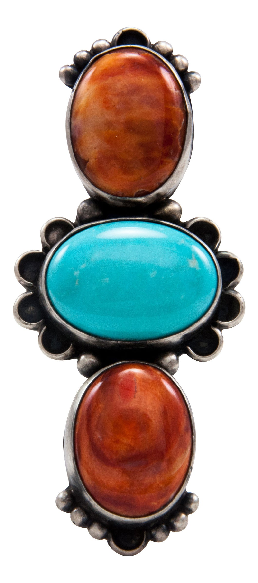 Navajo Native American Orange Shell and Turquoise Ring Size 6 1/4 by Kevin Willie SKU232077