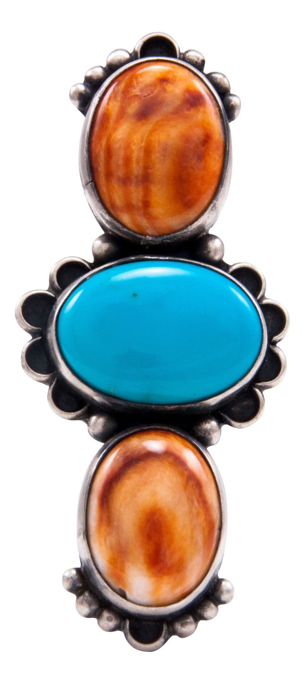 Navajo Native American Orange Shell and Turquoise Ring Size 7 by Kevin Willie SKU232078