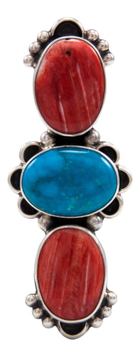 Navajo Native American Orange Shell and Turquoise Ring Size 6 by Darryl Livingston SKU232080