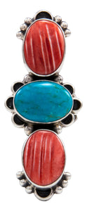 Navajo Native American Orange Shell and Turquoise Ring Size 8 1/4 by Darryl Livingston SKU232081