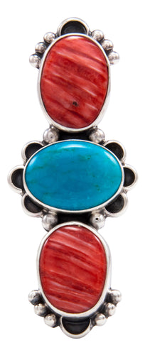 Navajo Native American Orange Shell and Turquoise Ring Size 6 by Darryl Livingston SKU232082