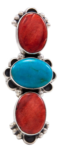 Navajo Native American Orange Shell and Turquoise Ring Size 6 by Darryl Livingston SKU232083