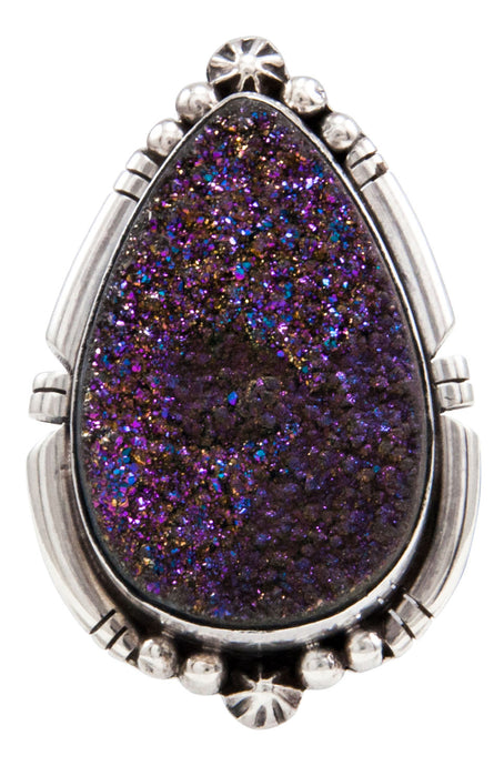 Navajo Native American Druzy Ring Size 7 by Ernest Alviso SKU232087