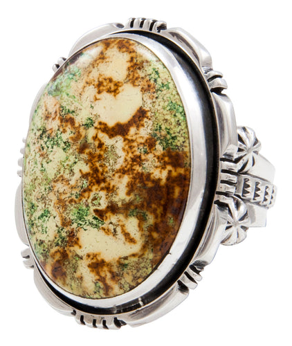 Navajo Native American Gaspeite Ring Size 10 1/2 by Roy Tom SKU232098