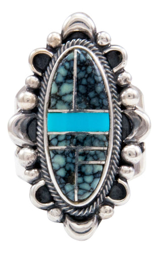 Navajo Native American Turquoise Inlay Ring Size 6 3/4 by Danny Clark SKU232100