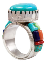 Load image into Gallery viewer, Navajo Native American Kingman and Carico Lake Turquoise Ring Size 12 by Calvin Desson SKU232104