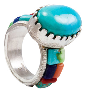 Navajo Native American Kingman and Carico Lake Turquoise Ring Size 12 by Calvin Desson SKU232104