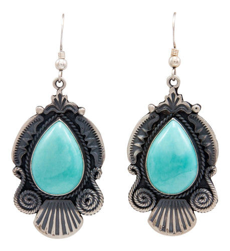 Navajo Native American Kingman Turquoise Earrings by Calladitto SKU232116