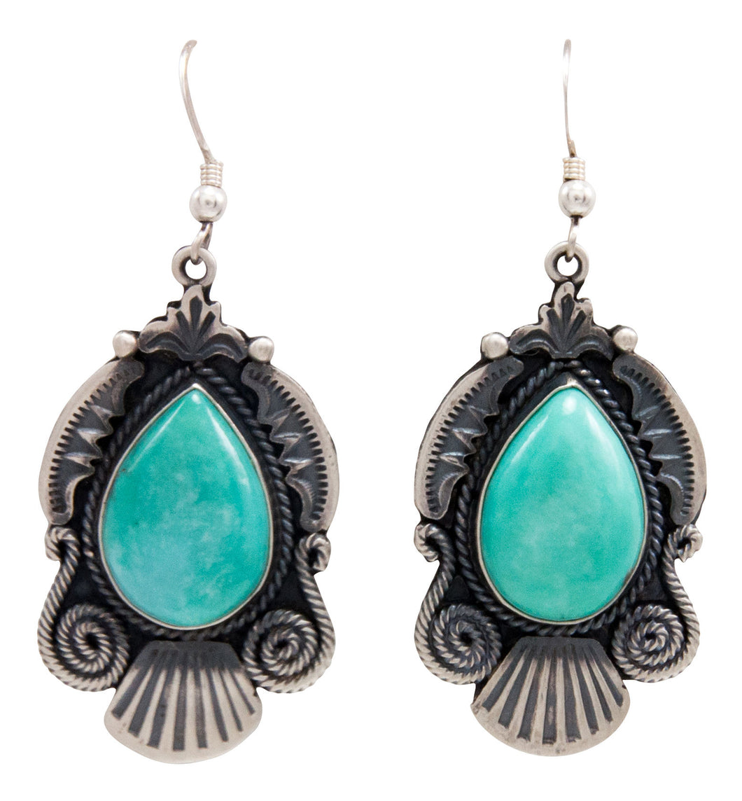 Navajo Native American Kingman Turquoise Earrings by Calladitto SKU232117