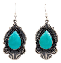 Load image into Gallery viewer, Navajo Native American Kingman Turquoise Earrings by Calladitto SKU232120