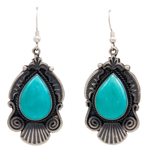 Navajo Native American Kingman Turquoise Earrings by Calladitto SKU232120