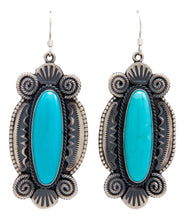 Load image into Gallery viewer, Navajo Native American Kingman Turquoise Earrings by Calladitto SKU232123