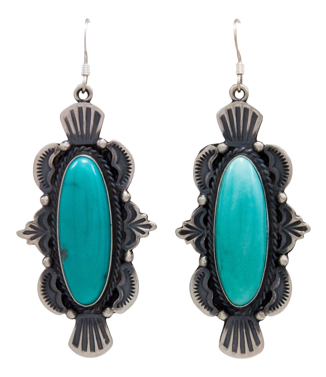 Navajo Native American Kingman Turquoise Earrings by Calladitto SKU232127