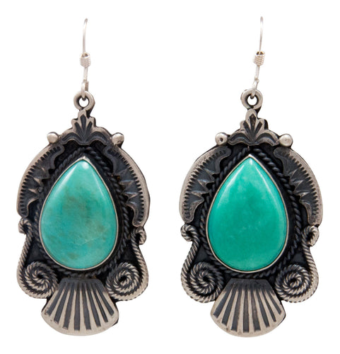 Navajo Native American Kingman Turquoise Earrings by Calladitto SKU232133