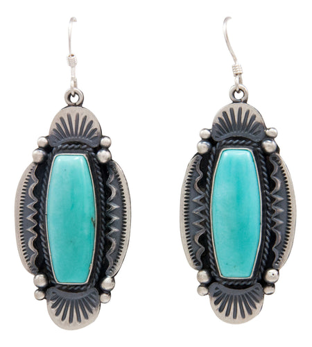 Navajo Native American Kingman Turquoise Earrings by Calladitto SKU232139