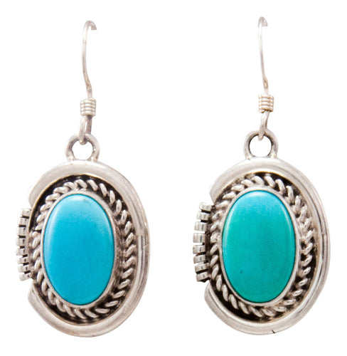 Navajo Native American Kingman Turquoise Earrings by Eddie Secatero SKU232176