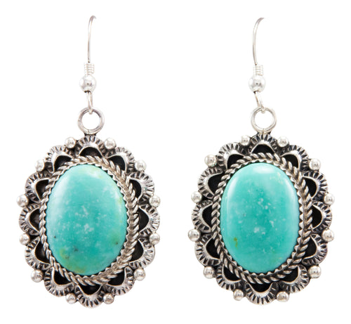 Navajo Native American Kingman Turquoise Earrings by Eric Delgarito SKU232186