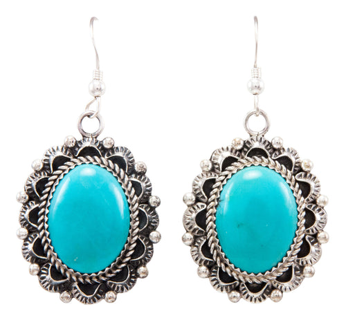 Navajo Native American Kingman Turquoise Earrings by Eric Delgarito SKU232187