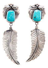 Load image into Gallery viewer, Navajo Native American Kingman Turquoise Earrings by Benjamin Piaso SKU232197
