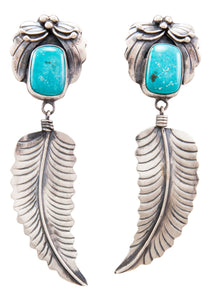 Navajo Native American Kingman Turquoise Earrings by Benjamin Piaso SKU232197