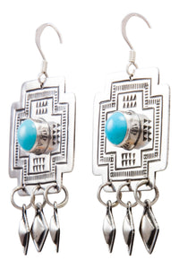 Navajo Native American Sleeping Beauty Turquoise Earrings by Harris Joe SKU232207