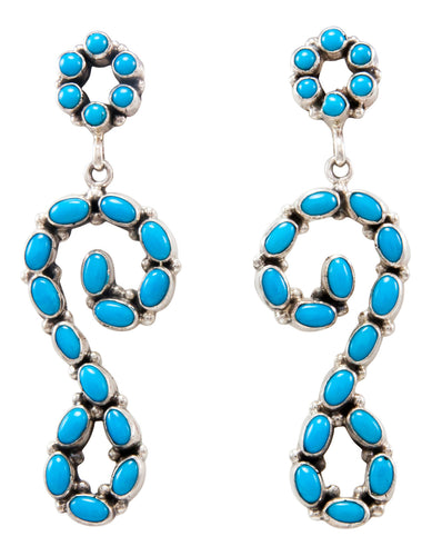 Navajo Native American Sleeping Beauty Turquoise Earrings by Eleanor Largo SKU232215