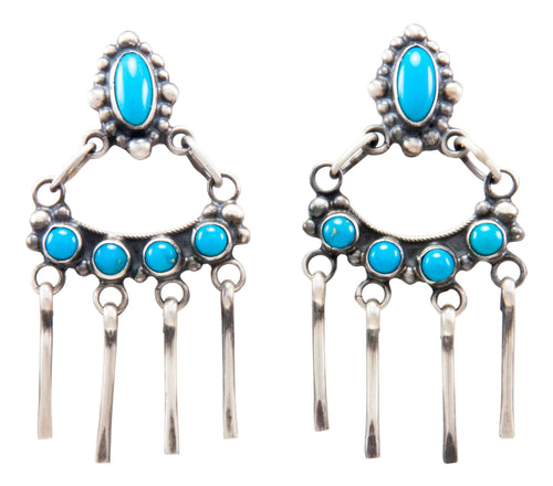 Navajo Native American Sleeping Beauty Turquoise Earrings by Raymond Beard SKU232241