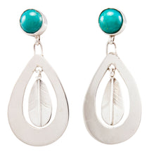 Load image into Gallery viewer, Navajo Native American Kingman Turquoise Earrings by Jerry Cowboy SKU232251