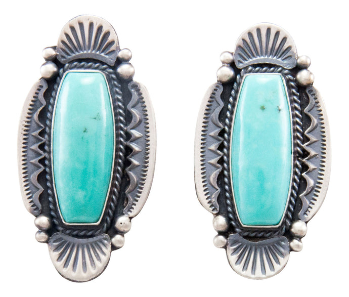 Navajo Native American Kingman Turquoise Earrings by Calladitto SKU232299
