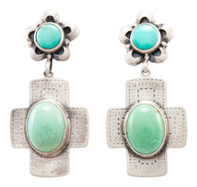 Load image into Gallery viewer, Navajo Native American Kingman Turquoise Earrings by Burt Francisco SKU232319