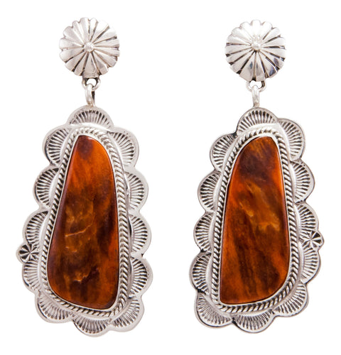 Navajo Native American Spiny Oyster Shell Earrings by Eula Wylie SKU232334