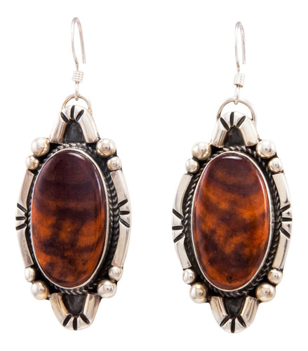 Navajo Native American Spiny Oyster Shell Earrings by Delbert Delgarito SKU232339