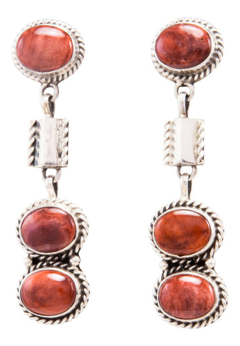Navajo Native American Spiny Oyster Shell Earrings by Etta Endito SKU232347
