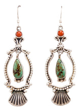 Load image into Gallery viewer, Navajo Native American Turquoise and Coral Earrings by Calladitto SKU232371