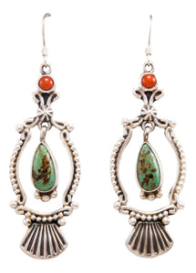 Navajo Native American Turquoise and Coral Earrings by Calladitto SKU232371