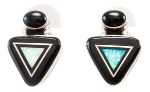 Navajo Native American Onyx and Lab Opal Earrings by Geneva Apachito SKU232376