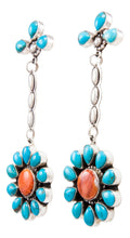 Load image into Gallery viewer, Navajo Native American Kingman Turquoise and Spiny Oyster Shell Earrings by Delgarito SKU232389