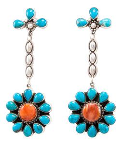 Navajo Native American Kingman Turquoise and Spiny Oyster Shell Earrings by Delgarito SKU232389