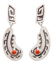 Load image into Gallery viewer, Navajo Native American Red Coral Earrings by Eula Wylie SKU232404