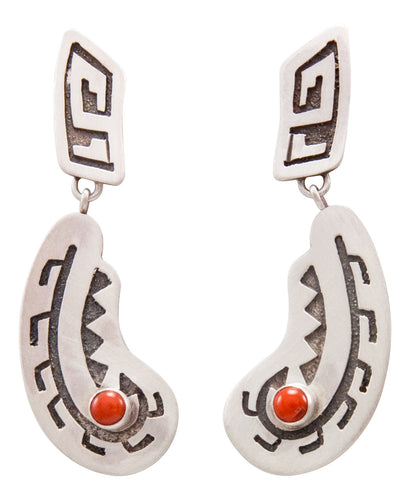 Navajo Native American Red Coral Earrings by Eula Wylie SKU232404
