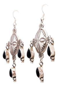 Navajo Native American Onyx Earrings by Michael and Rosita Calladitto SKU232417