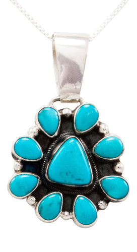Navajo Native American Kingman Turquoise Pendant Necklace by Geraldine James SKU232439