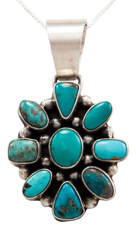 Navajo Native American Carico Lake Turquoise Pendant Necklace by Raymond Beard SKU232440
