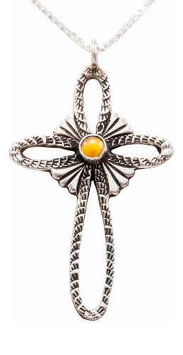 Navajo Native American Spiny Oyster Shell Cross Pendant by Castillo SKU232447